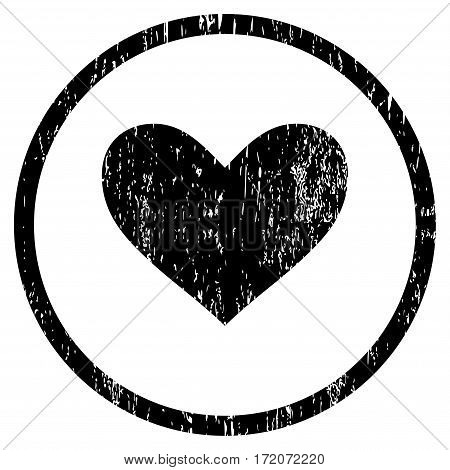 Love Heart grainy textured icon for overlay watermark stamps. Rounded flat vector symbol with dust texture. Circled black ink rubber seal stamp with grunge design on a white background.
