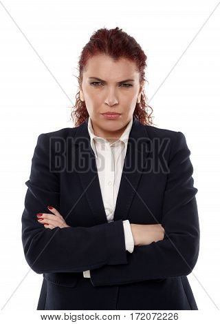 Closeup of an angry businesswoman isolated on white background