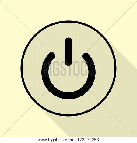 On Off switch sign. Black icon with flat style shadow path on cream background.