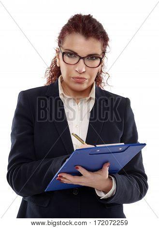Suspicious Businesswoman On White