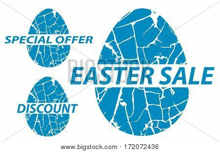 Easter sale special offers discounts on grunge. Vector illustration.
