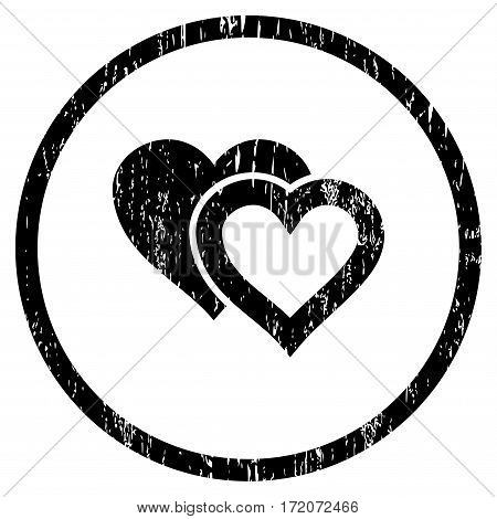 Love Hearts grainy textured icon for overlay watermark stamps. Rounded flat vector symbol with dust texture. Circled black ink rubber seal stamp with grunge design on a white background.