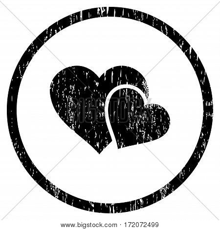 Love Hearts grainy textured icon for overlay watermark stamps. Rounded flat vector symbol with scratched texture. Circled black ink rubber seal stamp with grunge design on a white background.