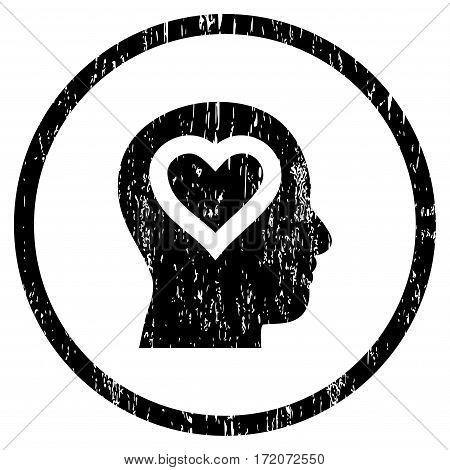 Love In Head grainy textured icon for overlay watermark stamps. Rounded flat vector symbol with scratched texture. Circled black ink rubber seal stamp with grunge design on a white background.