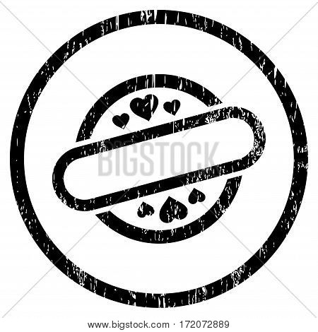 Love Stamp Seal grainy textured icon for overlay watermark stamps. Rounded flat vector symbol with dust texture. Circled black ink rubber seal stamp with grunge design on a white background.