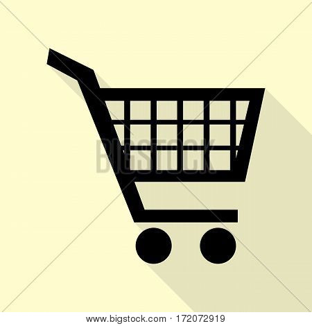 Shopping cart sign. Black icon with flat style shadow path on cream background.