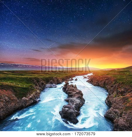 Fantastic views of the landscape. Starry sky and the milky way. Iceland.