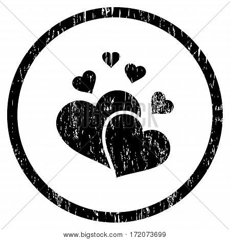 Lovely Hearts grainy textured icon for overlay watermark stamps. Rounded flat vector symbol with dust texture. Circled black ink rubber seal stamp with grunge design on a white background.