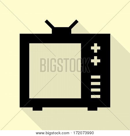 TV sign illustration. Black icon with flat style shadow path on cream background.