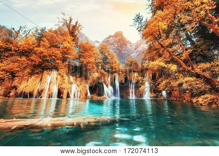Scenic views of the turquoise water and sunlight. The famous Plitvice Lakes National Park, Croatia, Europe. Bright autumn scene. Instagram tonic effect.