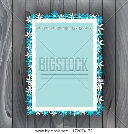 Vector illustration. Paper frame on wooden background for your design. Natural background with wooden planks and flowers.