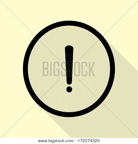 Exclamation mark sign. Black icon with flat style shadow path on cream background.
