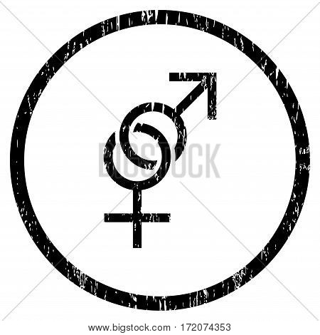 Sex Symbol grainy textured icon for overlay watermark stamps. Rounded flat vector symbol with dirty texture. Circled black ink rubber seal stamp with grunge design on a white background.