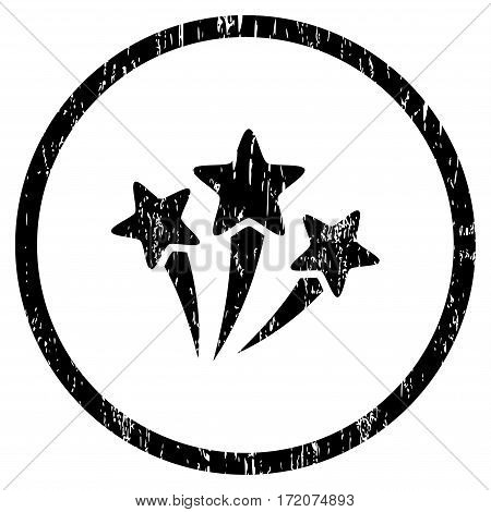 Star Fireworks grainy textured icon for overlay watermark stamps. Rounded flat vector symbol with dust texture. Circled black ink rubber seal stamp with grunge design on a white background.