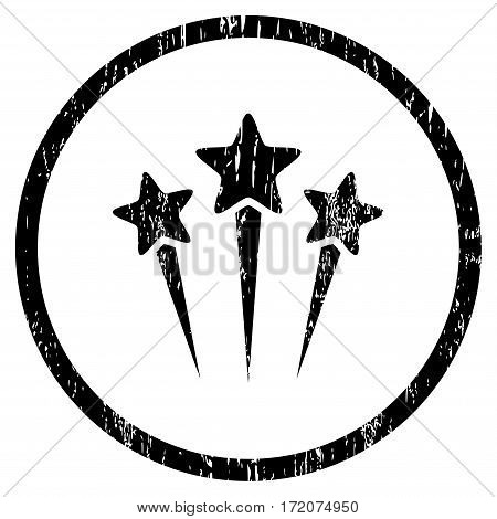 Star Salute grainy textured icon for overlay watermark stamps. Rounded flat vector symbol with unclean texture. Circled black ink rubber seal stamp with grunge design on a white background.
