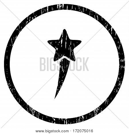 Starting Star grainy textured icon for overlay watermark stamps. Rounded flat vector symbol with dust texture. Circled black ink rubber seal stamp with grunge design on a white background.