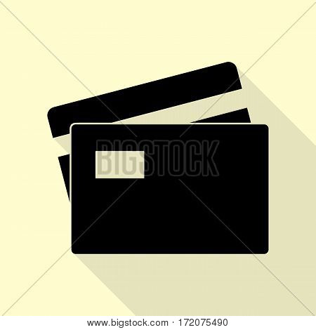 Credit Card sign. Black icon with flat style shadow path on cream background.