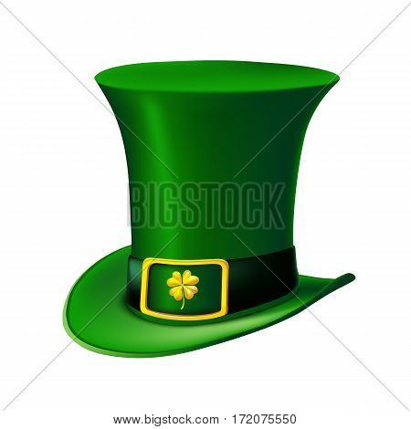 St. Patrick's Day green leprechaun hat with clover. Vector illustration.