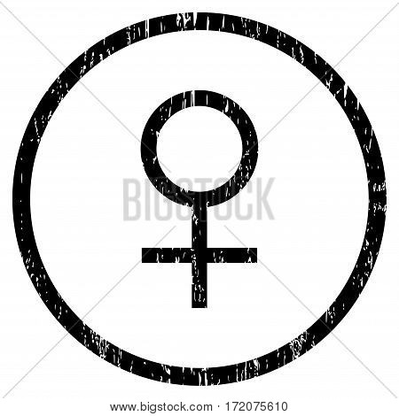 Venus Female Symbol grainy textured icon for overlay watermark stamps. Rounded flat vector symbol with unclean texture. Circled black ink rubber seal stamp with grunge design on a white background.