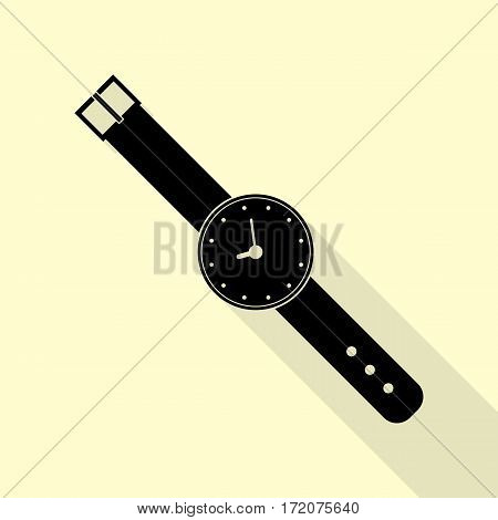 Watch sign illustration. Black icon with flat style shadow path on cream background.