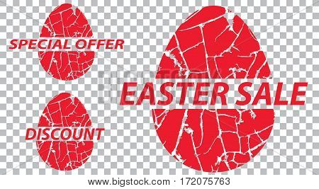 Easter sale special offers discounts on grunge a transparent background. Vector illustration.