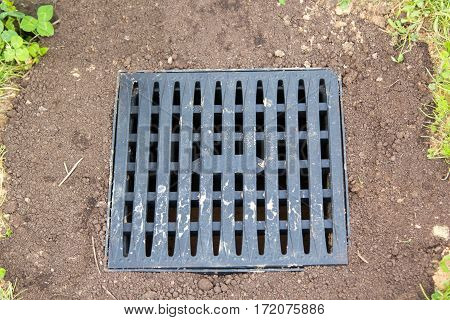 Cover Of Water Drain Hatch In Ground