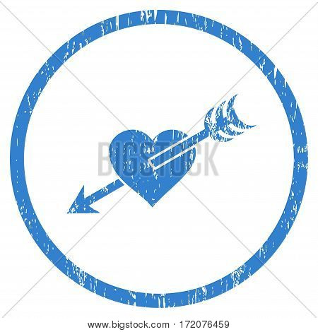 Arrow Heart grainy textured icon for overlay watermark stamps. Rounded flat vector symbol with dirty texture. Circled cobalt ink rubber seal stamp with grunge design on a white background.