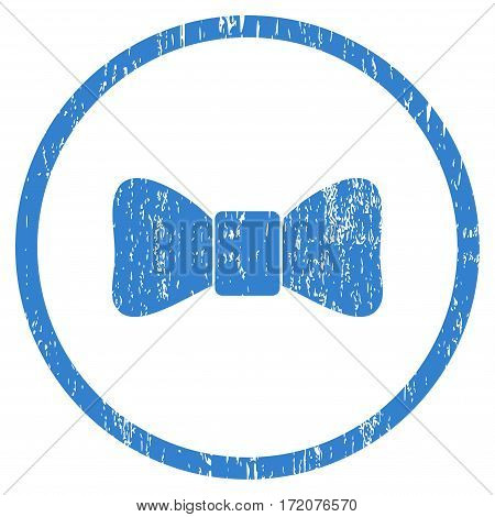 Bow Tie grainy textured icon for overlay watermark stamps. Rounded flat vector symbol with dirty texture. Circled cobalt ink rubber seal stamp with grunge design on a white background.