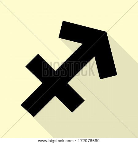 Sagittarius sign illustration. Black icon with flat style shadow path on cream background.