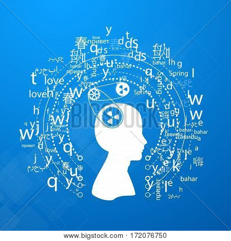 A cloud of letters and words in different languages, the concept of language learning background, polyglot.