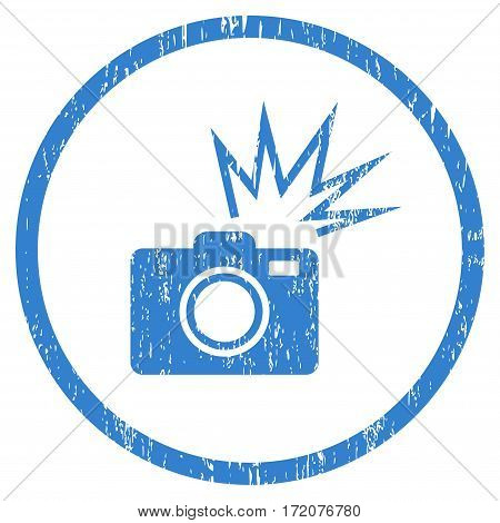 Camera Flash grainy textured icon for overlay watermark stamps. Rounded flat vector symbol with scratched texture. Circled cobalt ink rubber seal stamp with grunge design on a white background.