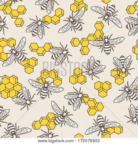 Vector Seamless Pattern With Linear Bee And Yellow Honeycombs. Organic Honey Background.