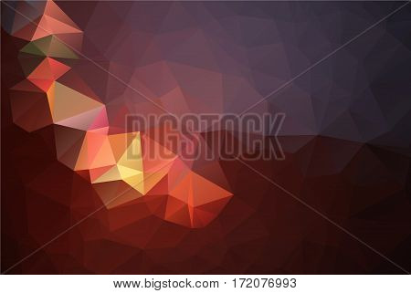 Abstract Low Poly Vector Background. Pattern Of Triangles. Polygonal Design. Red And Orange Colors