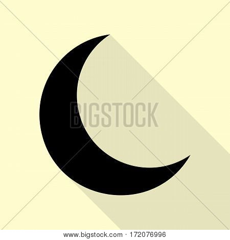 Moon sign illustration. Black icon with flat style shadow path on cream background.