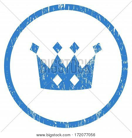 Crown grainy textured icon for overlay watermark stamps. Rounded flat vector symbol with scratched texture. Circled cobalt ink rubber seal stamp with grunge design on a white background.