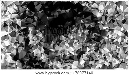 Abstract Low Poly Vector Christmas Background. Pattern Of Triangles. Polygonal Design. Black And Whi