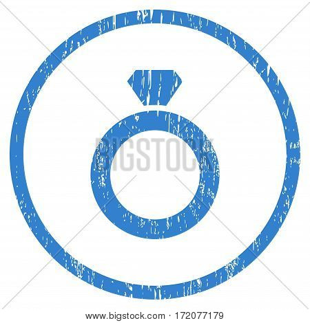 Diamond Ring grainy textured icon for overlay watermark stamps. Rounded flat vector symbol with scratched texture. Circled cobalt ink rubber seal stamp with grunge design on a white background.