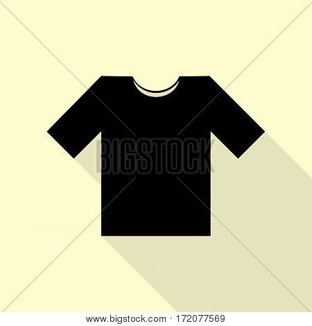 T-shirt sign illustration. Black icon with flat style shadow path on cream background.
