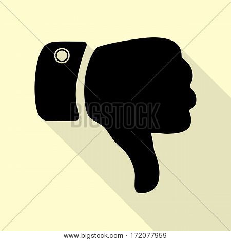 Hand sign illustration. Black icon with flat style shadow path on cream background.