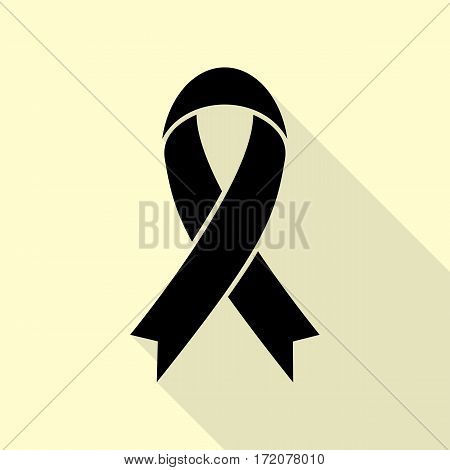 Black awareness ribbon sign. Black icon with flat style shadow path on cream background.