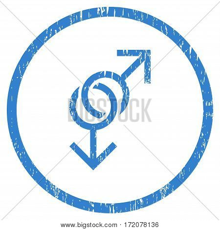 Gay Love Symbol grainy textured icon for overlay watermark stamps. Rounded flat vector symbol with dirty texture. Circled cobalt ink rubber seal stamp with grunge design on a white background.