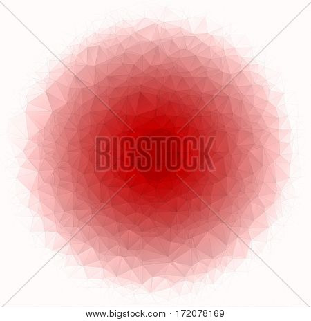 Abstract Low Poly Vector Christmas Background. Pattern Of Triangles. Polygonal Design. Red Circle. S