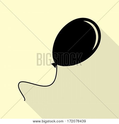 Balloon sign illustration. Black icon with flat style shadow path on cream background.