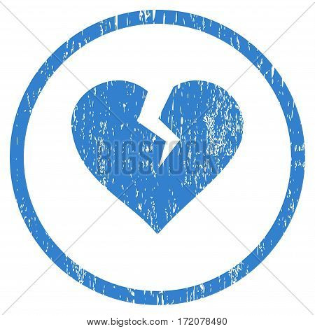 Heart Break grainy textured icon for overlay watermark stamps. Rounded flat vector symbol with dirty texture. Circled cobalt ink rubber seal stamp with grunge design on a white background.