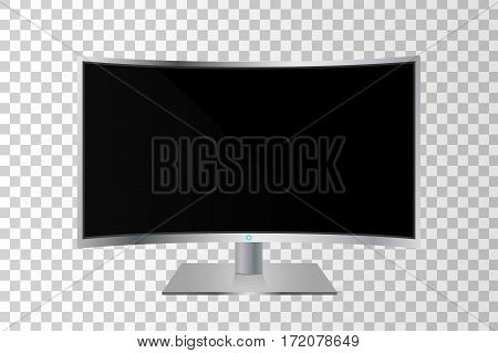 Realistic Curved Tv Monitor Isolated. Vector Illustration