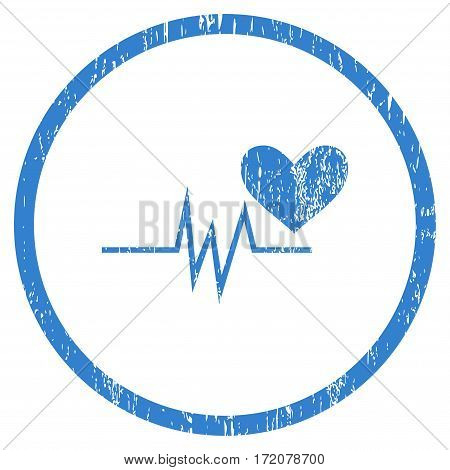 Heart Pulse Signal grainy textured icon for overlay watermark stamps. Rounded flat vector symbol with dirty texture. Circled cobalt ink rubber seal stamp with grunge design on a white background.