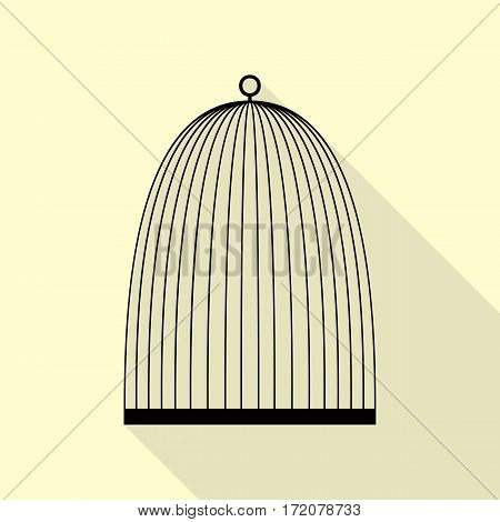 Bird cage sign. Black icon with flat style shadow path on cream background.