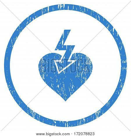 Heart Shock Strike grainy textured icon for overlay watermark stamps. Rounded flat vector symbol with dirty texture. Circled cobalt ink rubber seal stamp with grunge design on a white background.