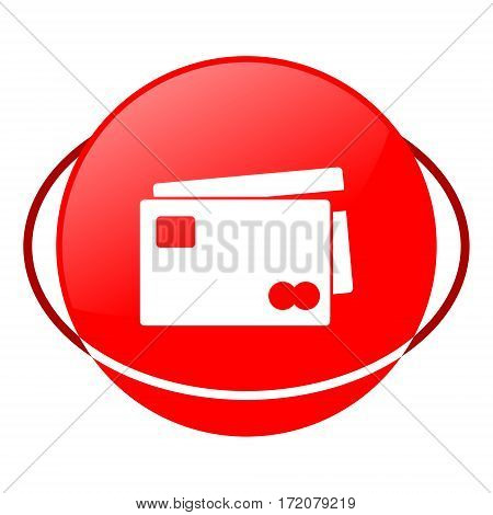 Red icon, credit card vector illustration on white background