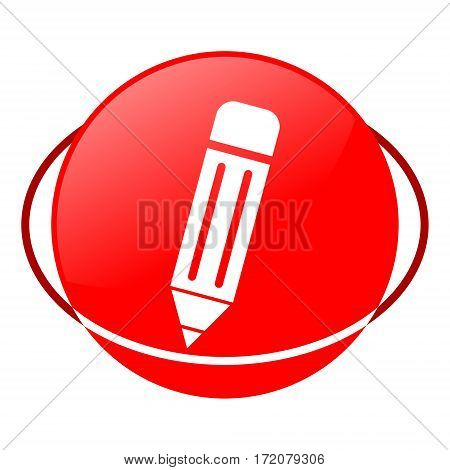 Red icon, pencil vector illustration on white background